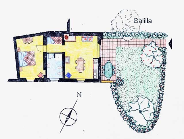 Casa Vacanze La Baghera - La Baghera Alta - Appartamento Balilla - Piantina